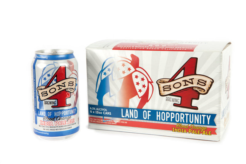 Four Sons Brewing, Land of Hopportunity IPA, 6 Pack Cans.