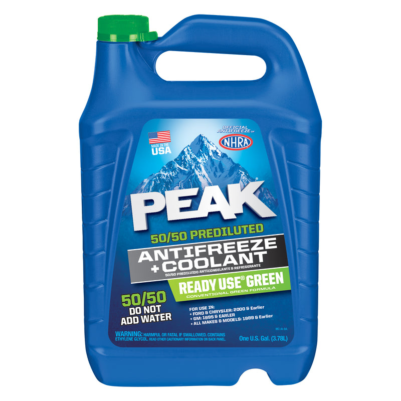 PEAK 50/50 Prediluted, Antifreeze + Coolant, Ready Use Green