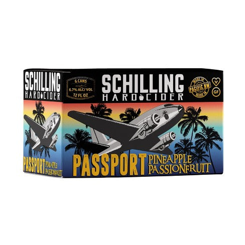 Schilling Hard Cider, Passport Pineapple Passion Fruit, 6 Pack Cans BRIANSDISCOUNTMARKET