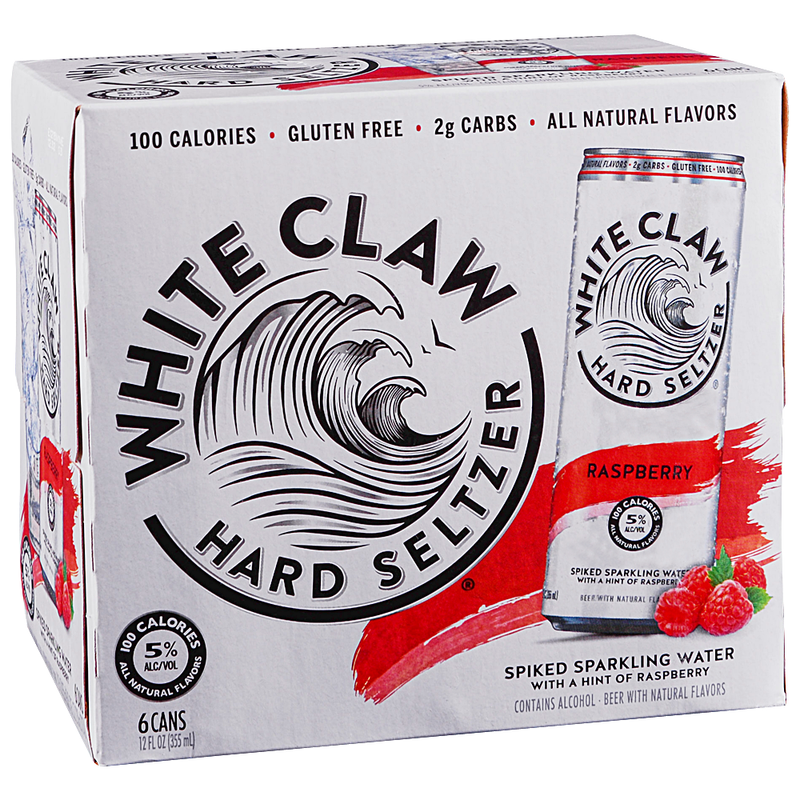 White Claw Hard Seltzer, Raspberry, 6 Pack Cans.
