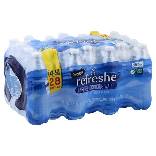 Refreshe Purified Drinking Water , 28 Bottle Pack