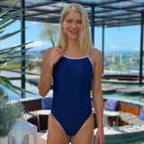 Women's One Piece Elastic Strap Back Blue Navy