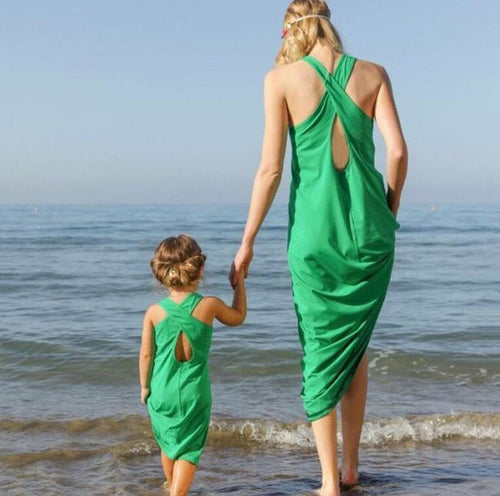 Green Dream Beach Dresses for Mother and Daughter