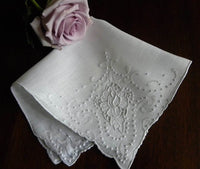 Vintage Madeira Whitework Rose Embroidered Wedding Handkerchief - The Pink Rose Cottage