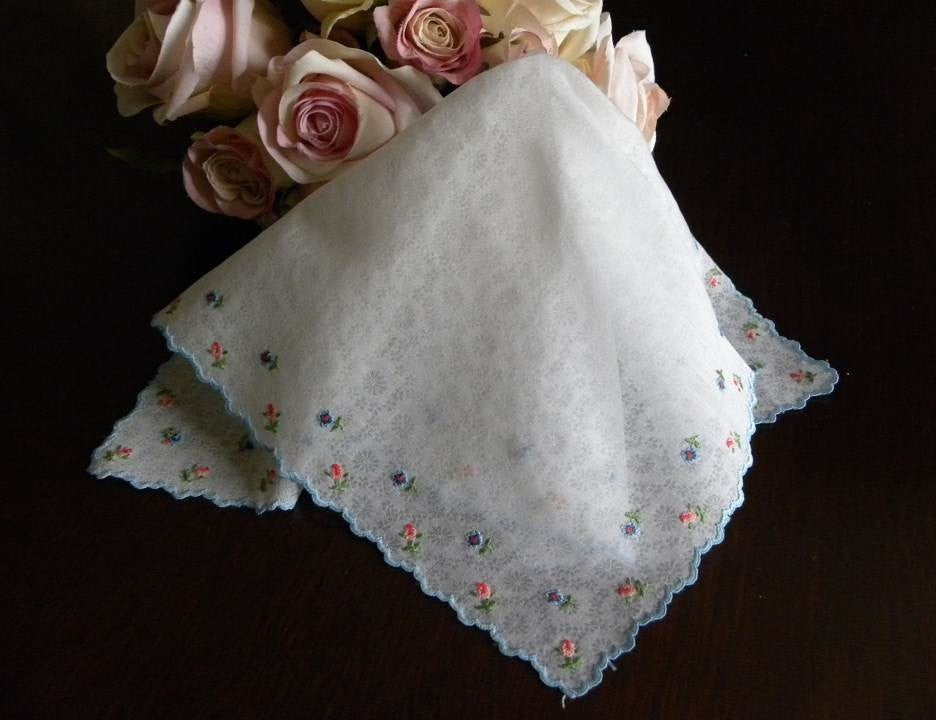 Vintage Sheer Chintz Handkerchief with Petite Point Pink Roses & Forget Me Nots - The Pink Rose Cottage