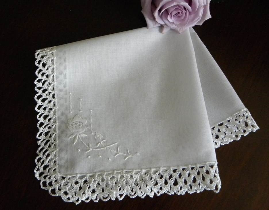 Vintage Madeira Linen and Lace Whitework Embroidered Wedding Handkerchief - The Pink Rose Cottage