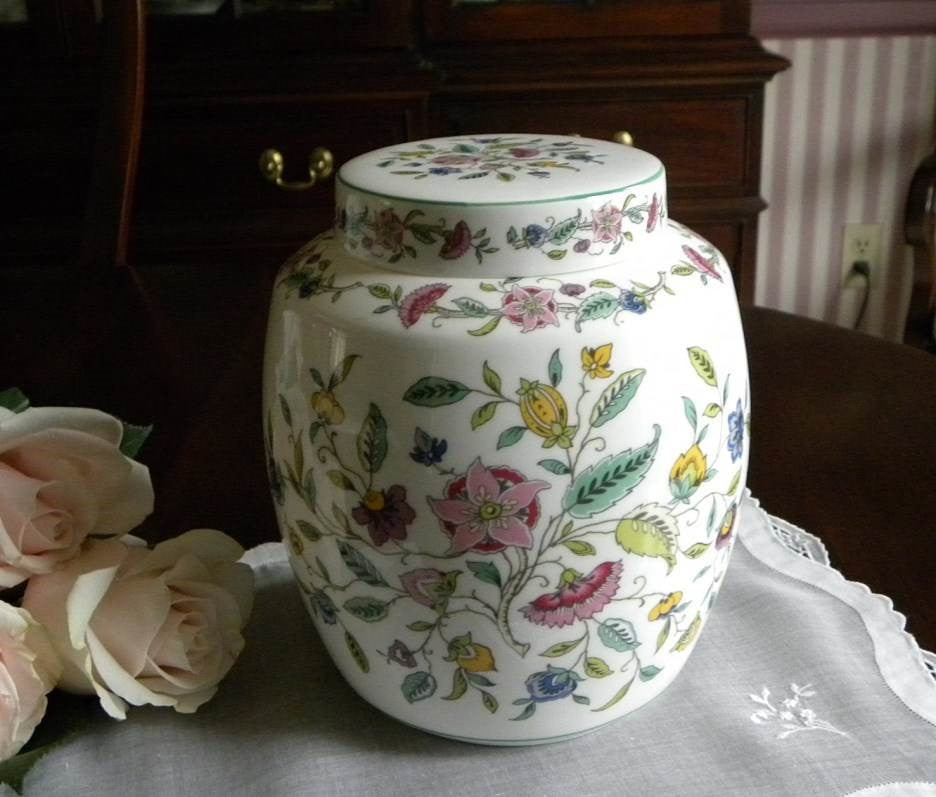 Minton Haddon Hall Ginger Jar Tea Caddy - The Pink Rose Cottage