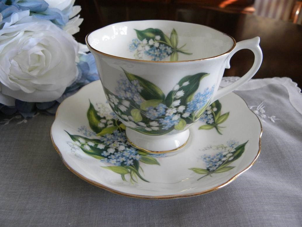Royal Albert Lily of the Valley & Forget Me Nots Teacup and Saucer - The Pink Rose Cottage