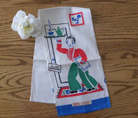 Vintage MWT Broderie Waiter Tea Towel Blue - The Pink Rose Cottage