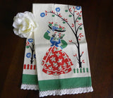 Vintage Unused Broderie Woman with Fruit Tea Towel - The Pink Rose Cottage