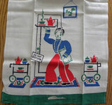 Vintage Mint Broderie Waiter Tea Towel Green - The Pink Rose Cottage