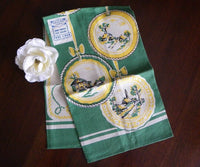 MWT Vintage Broderie Hanging Plates Tea Towel in Green - The Pink Rose Cottage