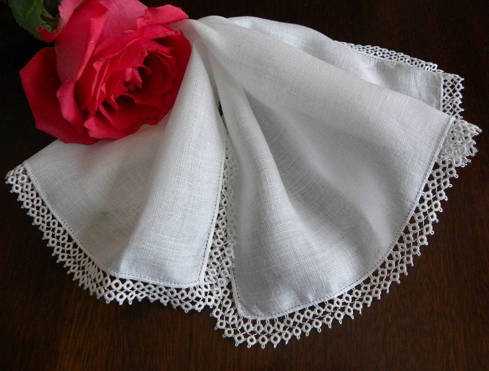 Vintage Linen Bridal Wedding Handkerchief with Tatted Trim - The Pink Rose Cottage