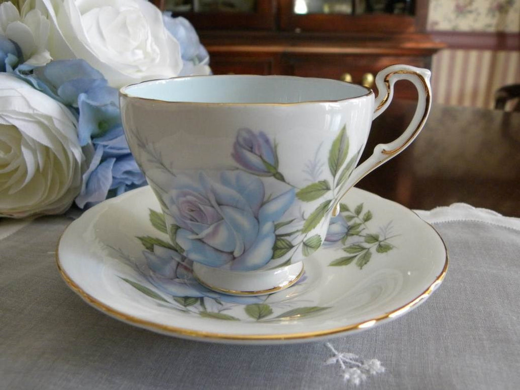 "Vintage Paragon Blue Rose ""Blue Moon"" Demitasse Teacup and Saucer - The Pink Rose Cottage"