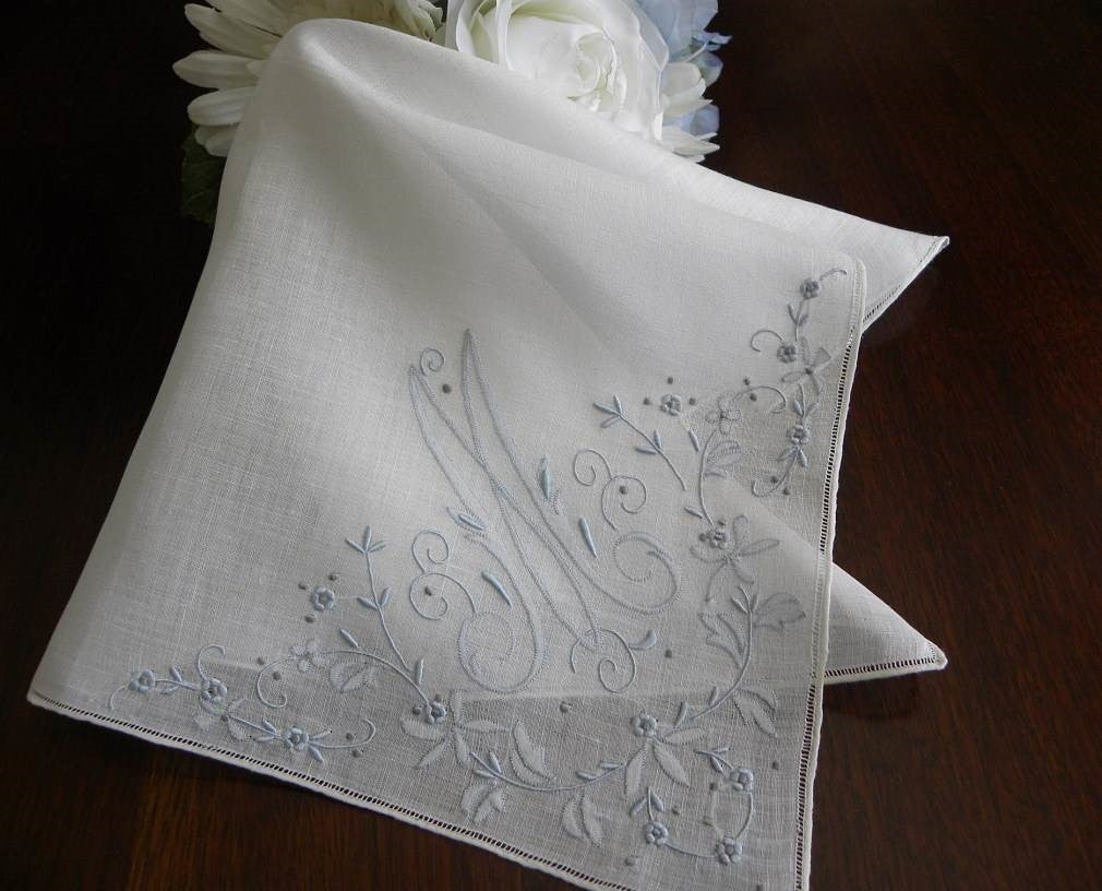 Vintage Unused Madeira  Monogram M  Bridal Handkerchief - The Pink Rose Cottage