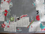 1950 Calendar and Holidays Vintage Handkerchief - The Pink Rose Cottage