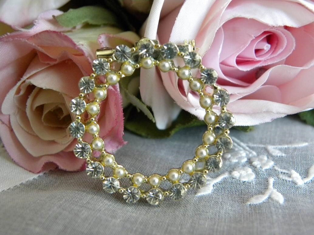 Vintage Rhinestone and Pearl Brooch Pin - The Pink Rose Cottage
