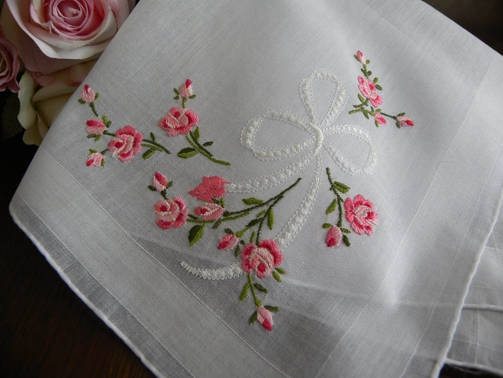 Vintage embroidered pink rose and bow wedding handkerchief