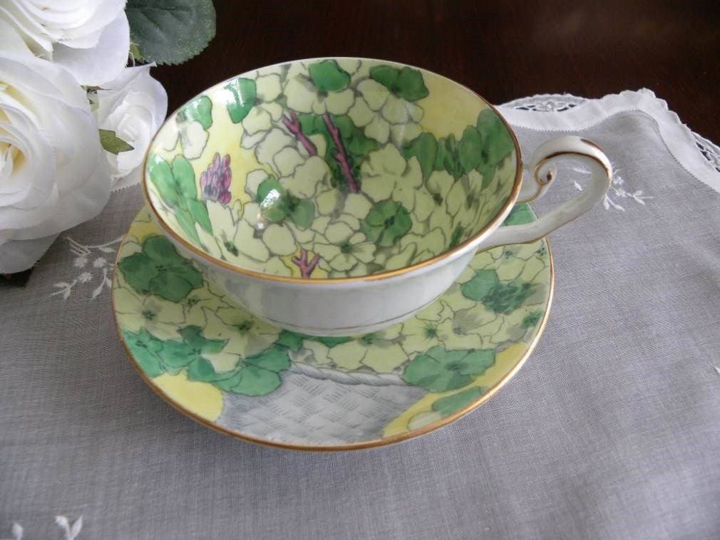 "Vintage Victoria ""Wallflowers"" Geranium  Teacup and Saucer - The Pink Rose Cottage"
