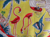 Vintage Florida Souvenir Handkerchief with Flamingos and Palm Trees - The Pink Rose Cottage