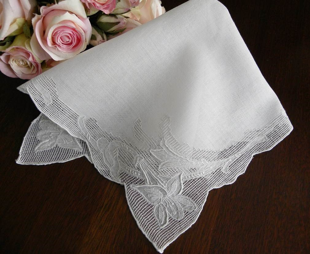 Vintage Whitework Pullwork Embroidered Lily Wedding Handkerchief - The Pink Rose Cottage