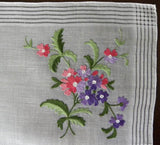 Vintage Unused Crewel Embroidery Pink and Purple Daisy Handkerchief - The Pink Rose Cottage