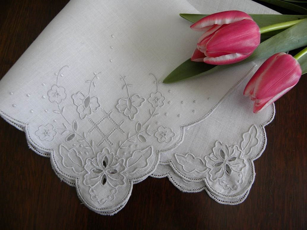 Vintage Unused Madeira Pansy Bridal Handkerchief - The Pink Rose Cottage