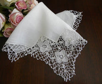 Vintage Cutout and Tatted Bridal Handkerchief - The Pink Rose Cottage