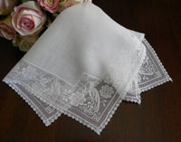 Vintage Filet Lace Peacock Handkerchief - The Pink Rose Cottage