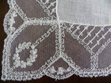 Vintage Net Lace with Tambour Embroidered Laurel Wreath Linen Wedding Handkerchief - The Pink Rose Cottage