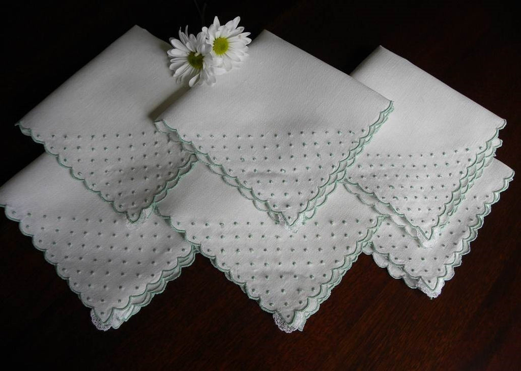Set of 6 Vintage Madeira Jadeite Green Swiss Dot Embroidered Napkins - The Pink Rose Cottage