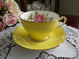 Vintage Yellow Teacup and Saucer with Large Pink Rose - The Pink Rose Cottage