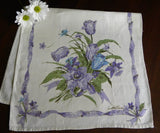 Vintage Purple Daffodil and Tulip Spring Tea Towel - The Pink Rose Cottage