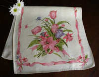 Vintage Pink Daffodil and Tulip Spring Tea Towel - The Pink Rose Cottage