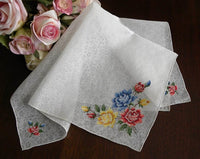 Vintage Sheer White Chintz Handkerchief with Petite Point Roses - The Pink Rose Cottage