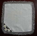 Vintage Bridal Handkerchief with Tatting and Daisies - The Pink Rose Cottage