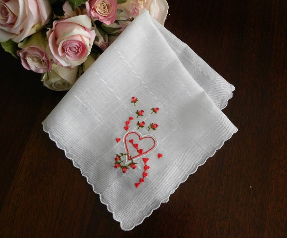 Vintage Embroidered Pink Roses and Hearts Valentines Handkerchief - The Pink Rose Cottage