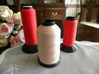 3 Large Vintage Spools of Pink and Red Thread - The Pink Rose Cottage