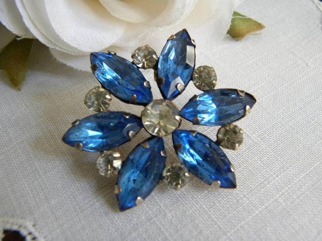 Vintage Sterling and Blue Rhinestone Pin or Pendant - The Pink Rose Cottage