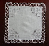 Vintage Irish Linen Bridal Handkerchief with Pullwork and Tatting - The Pink Rose Cottage