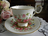 Vintage H & M Country Garden Pink Rose Teacup and Saucer - The Pink Rose Cottage