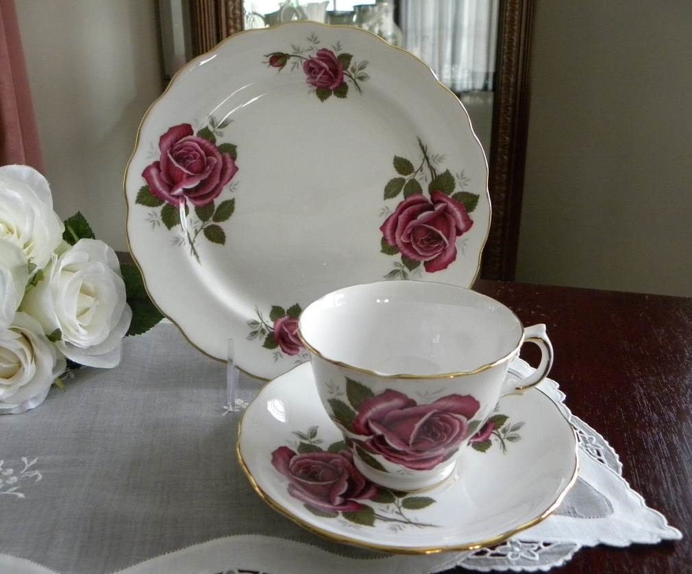 Vintage Magenta Rose Teacup Saucer and Luncheon Plate - The Pink Rose Cottage