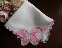 Vintage Linen Crocheted Pink Butterfly Handkerchief - The Pink Rose Cottage