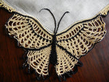 Vintage Linen Crocheted Yellow and Black Butterfly Handkerchief - The Pink Rose Cottage