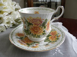 Vintage Queen's Special Flowers November Mums Teacup and Saucer - The Pink Rose Cottage