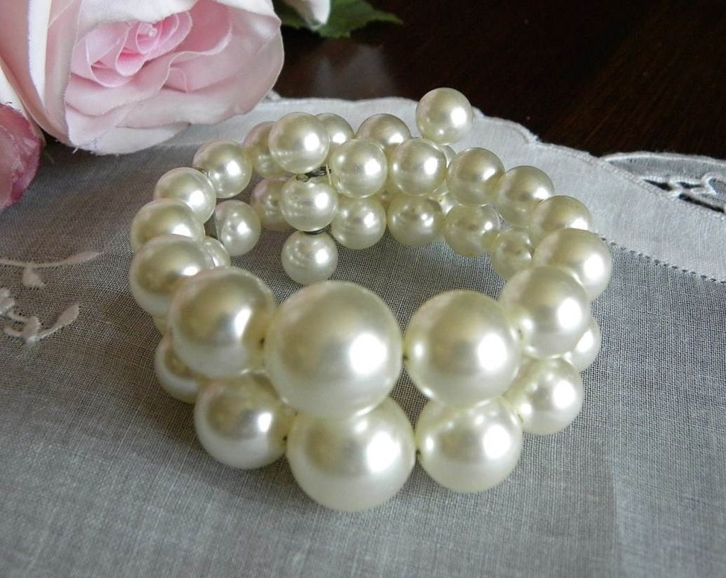 Vintage Beaded Pearl Bracelet - The Pink Rose Cottage