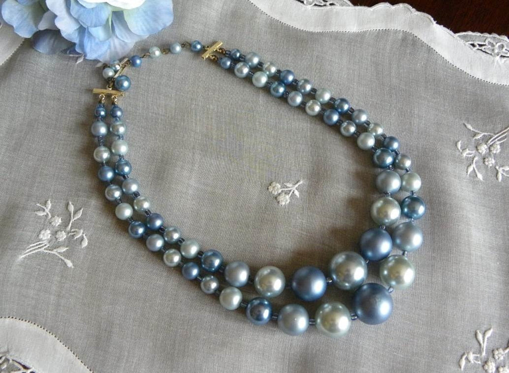 Vintage Shades of Blue Double Strand Beaded Necklace - The Pink Rose Cottage