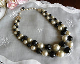 Vintage Black and White Double Strand Beaded Necklace - The Pink Rose Cottage