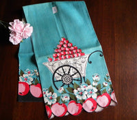 Vintage Town and Country Apple Blossom on Teal Tea Towel - The Pink Rose Cottage