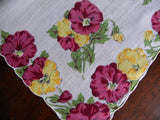 Vintage Purple and Yellow Pansies Handkerchief - The Pink Rose Cottage